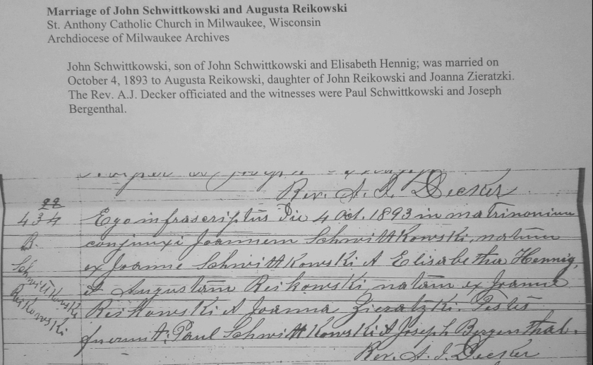 Marriage Record 1893
