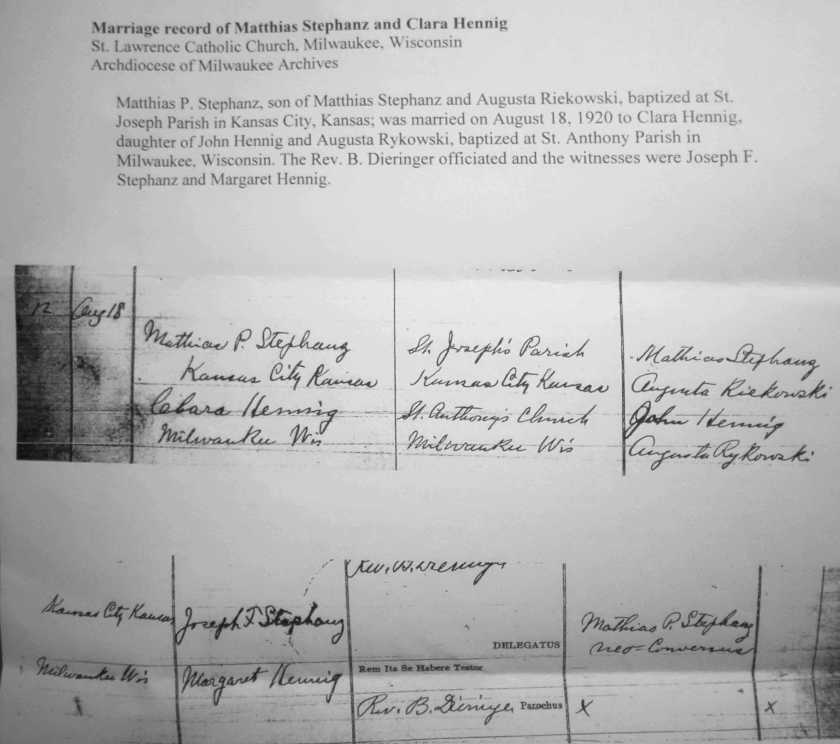 Mathias Stephanz and Clara Hennig Marriage Record 1920