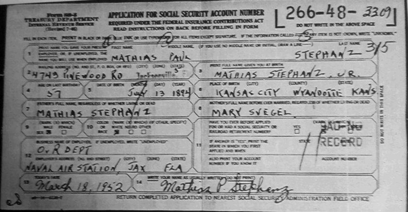 Mathias Stephanz SSN Application 03181952