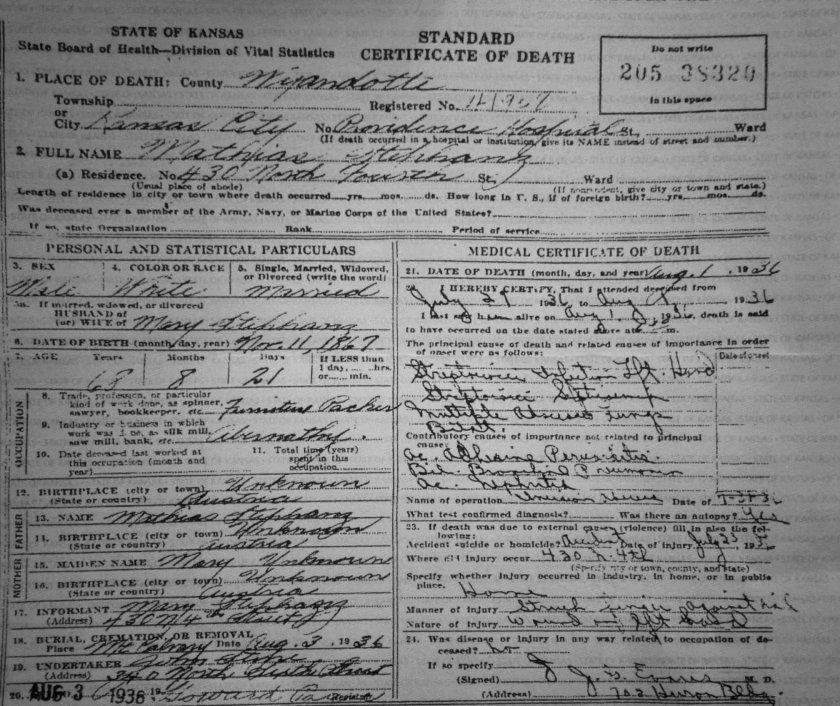 Death Certificate 1936