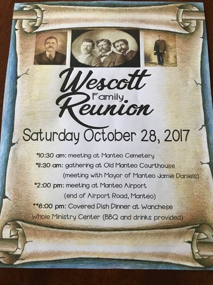 Wescott Family Reunion Itinerary