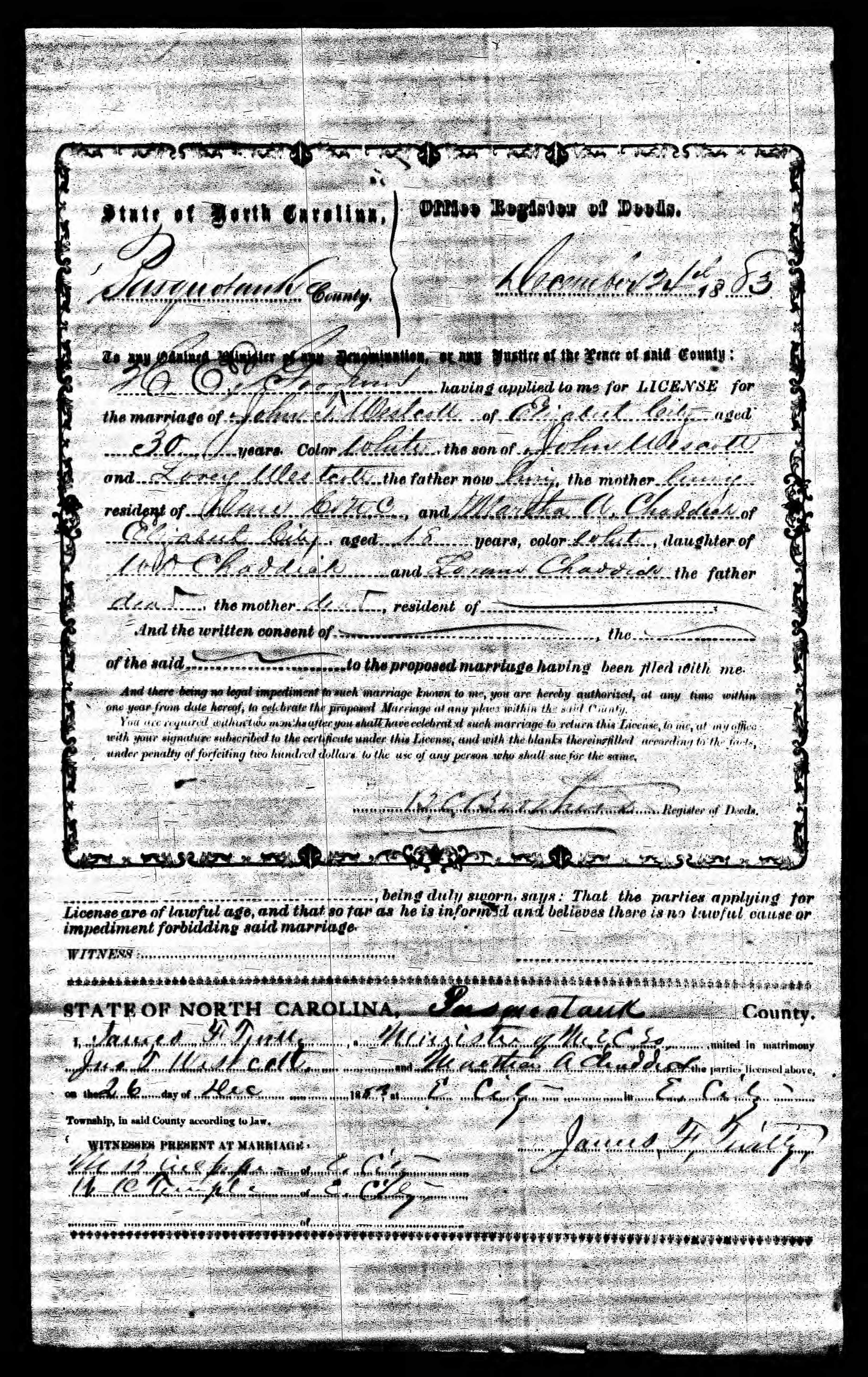 John T. Wescott and Martha Chadwick Marriage