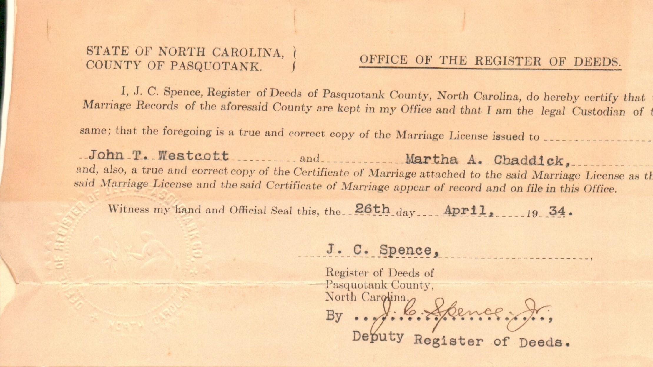 Marriage Registration John and Martha