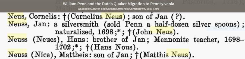 Neuss Wm Penn and the Quaker Migration