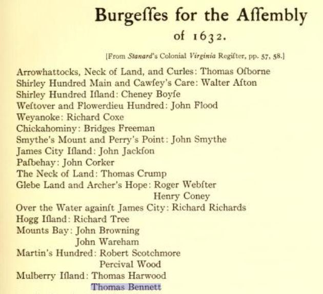 Burgesses of Virginia 1632