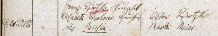Franz Sierotzki and Elisabeth Grenkowitz Marriage 1841