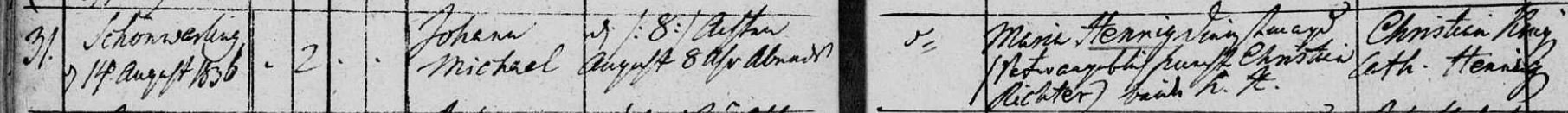 Johann Michael Hennig 1836 birth record