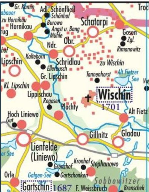 Nieder Schridlau and Wischin Map